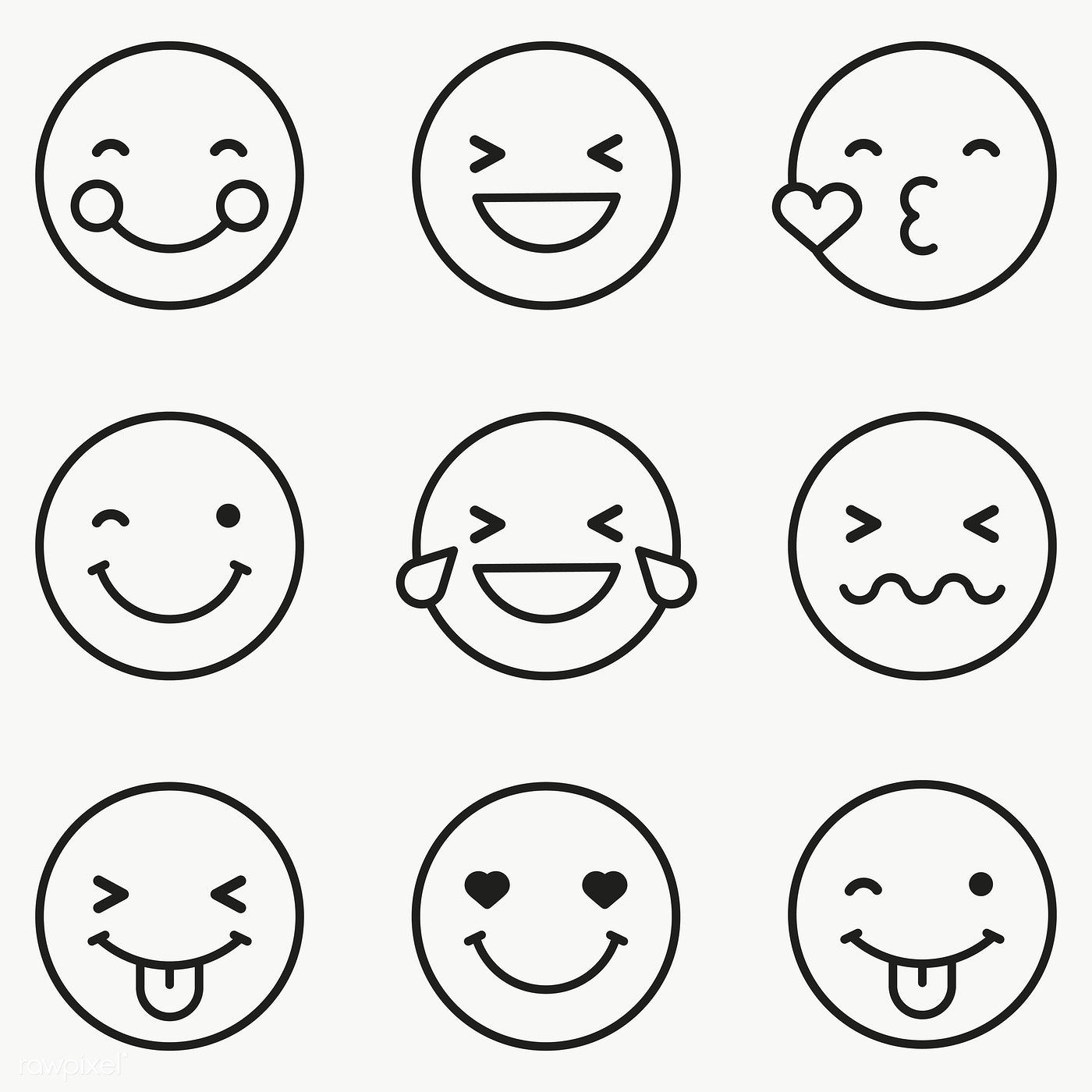 Download premium png of Black outline emoticon set