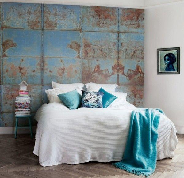 modern einrichten schlafzimmer einrichten akzentwand patina effekt - einrichtung schlafzimmer modern