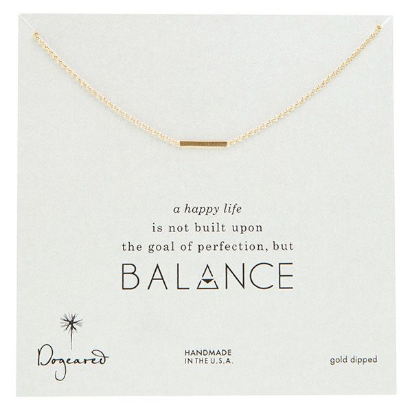 Dogeared Balance Gold-Plated Small Bar Necklace ($105) ❤ liked on Polyvore