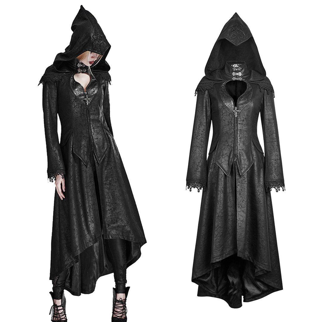Kleidung & Accessoires Schwarz Mantel Kapuze Punk Outwear