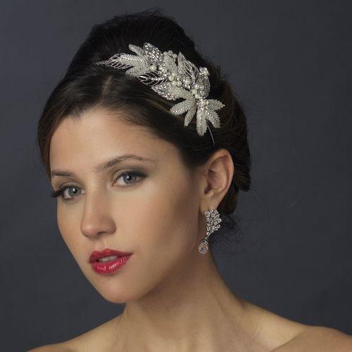 NWT Beaded Diamante Crystal Silver IVORY PEARL Bridal Tiara Wedding Headband 947