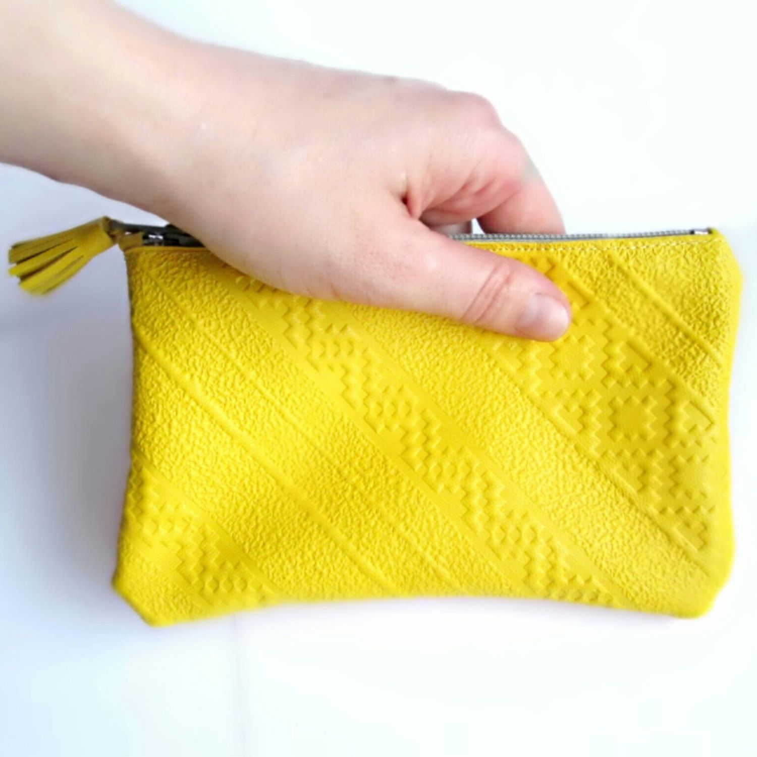 Yellow Leather Wallet Pouch