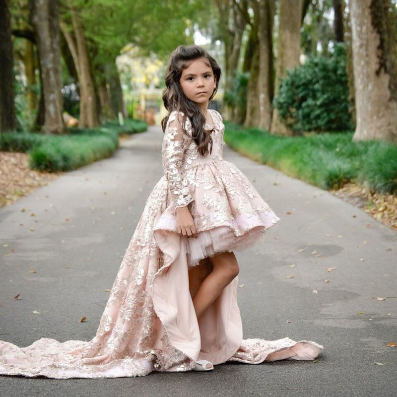 Gorgeous High Low Lace Flower Girl Dresses 2018 Puffy Front Short Long Back  Full Sleeve Girl Pageant Dress Kids Prom Party Gown f97803124abb