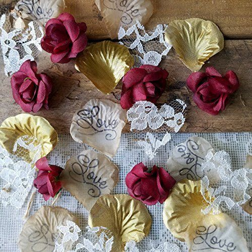 Burgundy with gold and lace wedding confetti or table scatter boho burgundy with gold and lace wedding confetti or table scatter boho wedding decor bridal junglespirit Choice Image