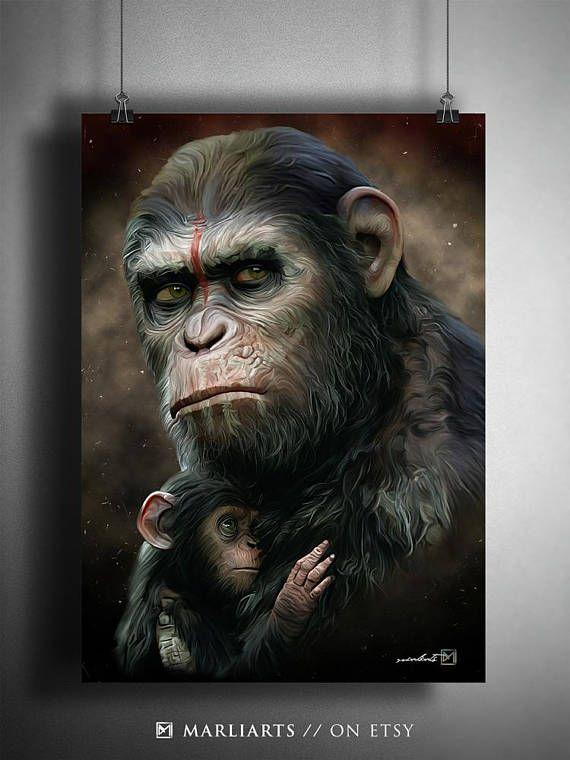 planet of the apes caesar baby artwork handmade printable art