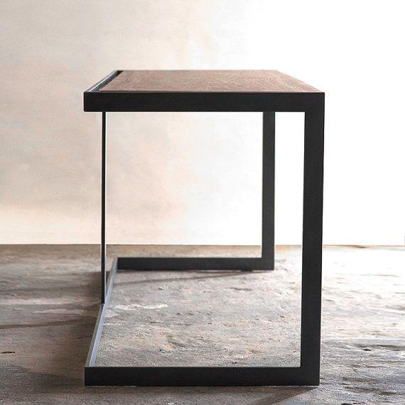 Suspended Wood and Metal Desk Modern Industrial Design Industrial