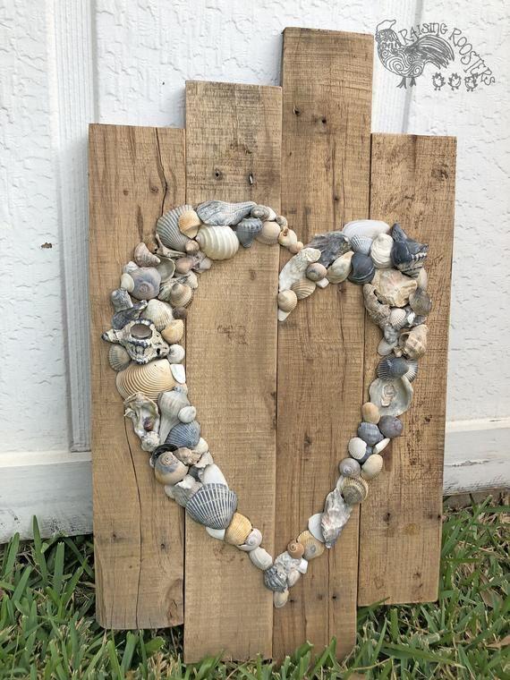 Photo of Shell Heart Sign- Beach Sign- Shell Art- Beach Wedding Sign- Jubileumsgave- Beach House- Wedding Gjestebok