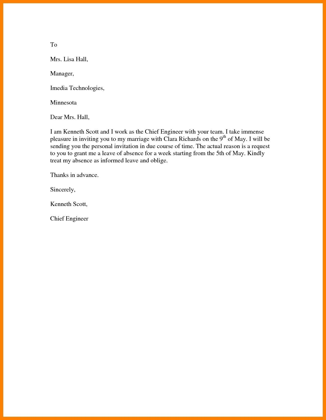 Best Refrence New Sample Letter Of Vacation Leave By
