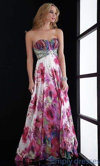 Empire Waist Strapless Print Gown at SimplyDresses.com