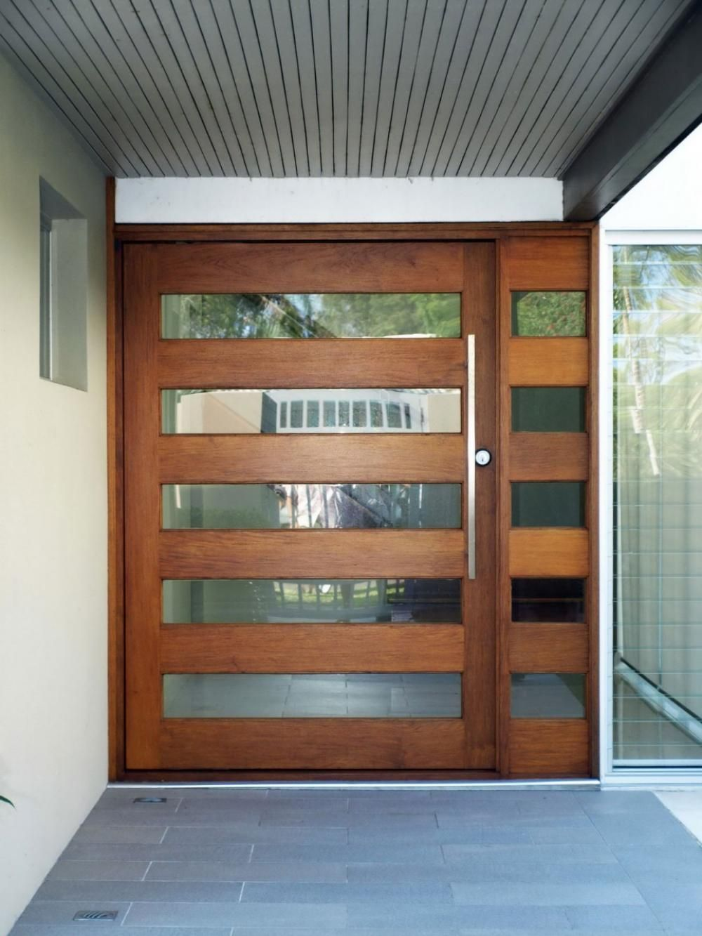 exterior    extraordinary horizontal wood and glass stripes for exterior door with long