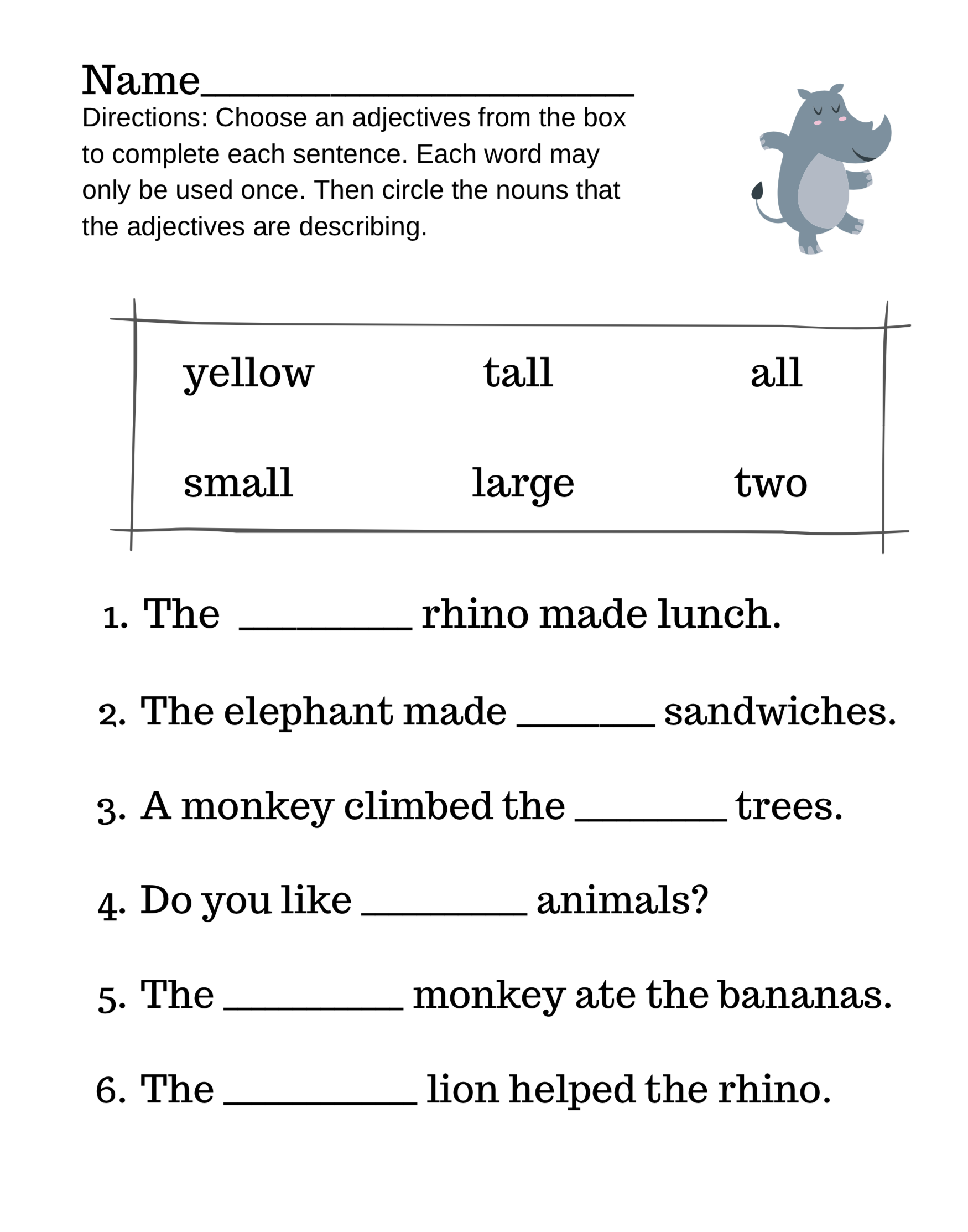 Nouns And Adjectives Rhino Style