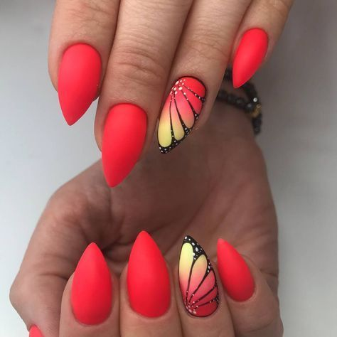 Rosso corallo opaco shade rosso e giallo opaco farfalla