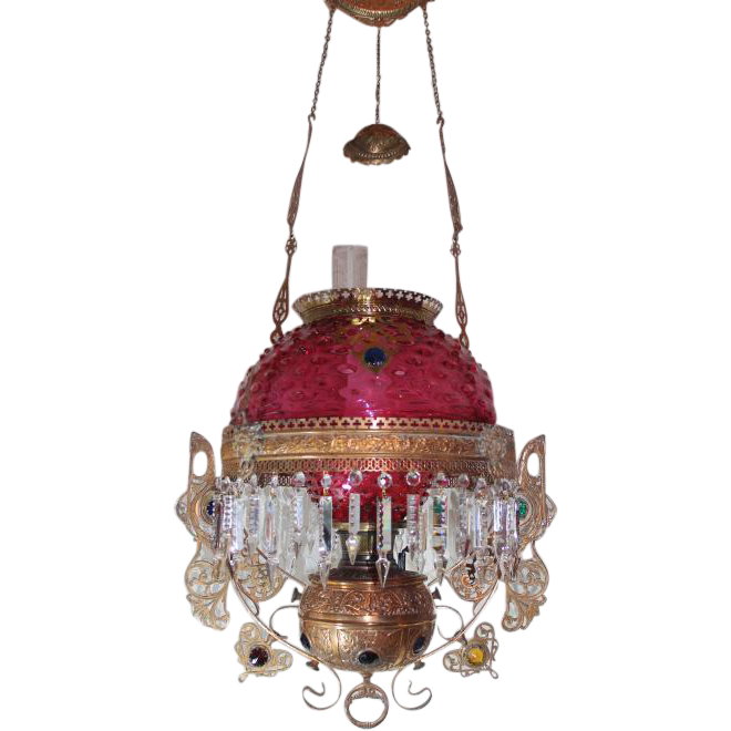Wow Victorian Bradley Hubbard Jeweled Hanging Library Kerosene Oil Lamp Very Rare Raspberry Shade Undershade And Jeweled Stork Frame With Rare Jeweled Emb Oil Lamps Antique Lamps Victorian Lighting