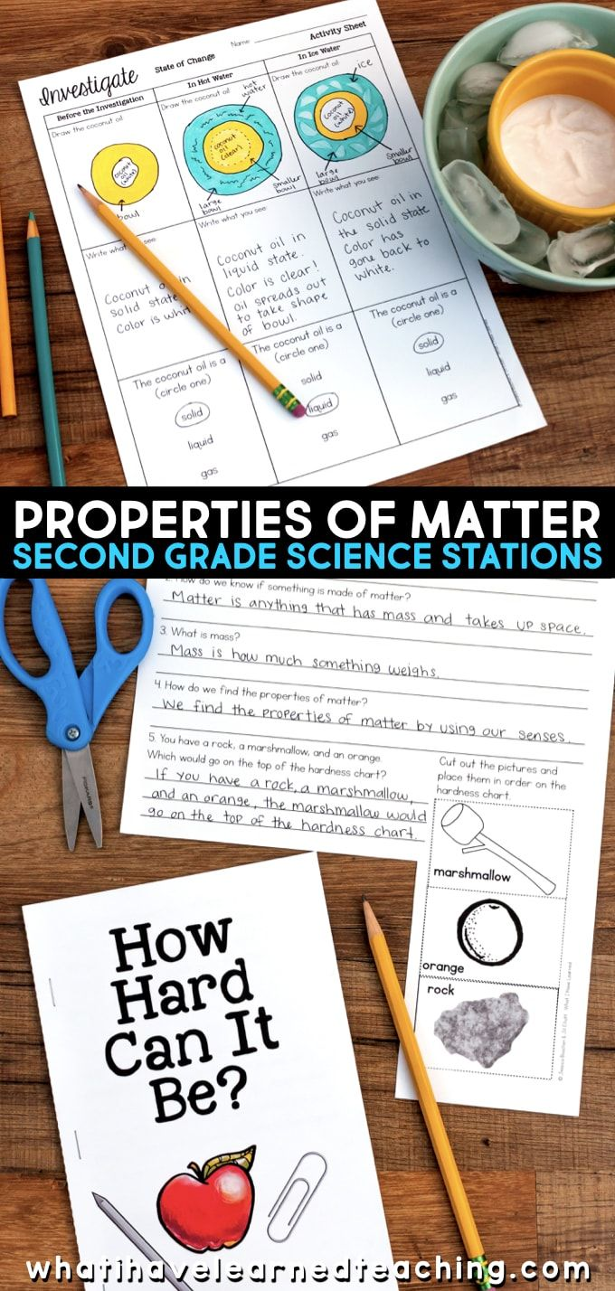 Engaging second grade science stations that follow the NGSS science standards for states of matter. These properties of matter science stations will have your 2nd grade students focused on reading and writing about science. Students learn about properties of matter, test different materials, and learn about how objects can be disassembled into small pieces and made into something new. #secondgradescience #ngss #2ndgradescience #sciencestations
