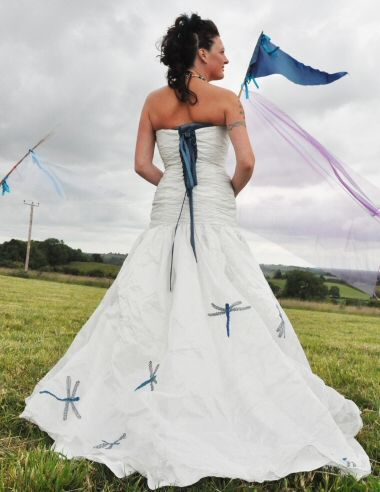 Wedding Dress With Blue Dragonflies Dragonflies Are The Theme Of