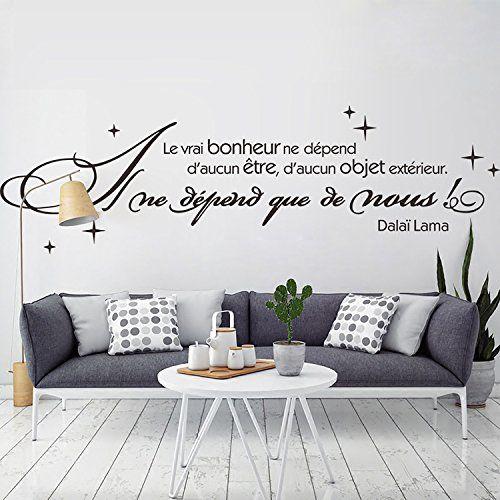 Decalmile Stickers Muraux Citations Le Vrai Bonheur Ne Dépend D