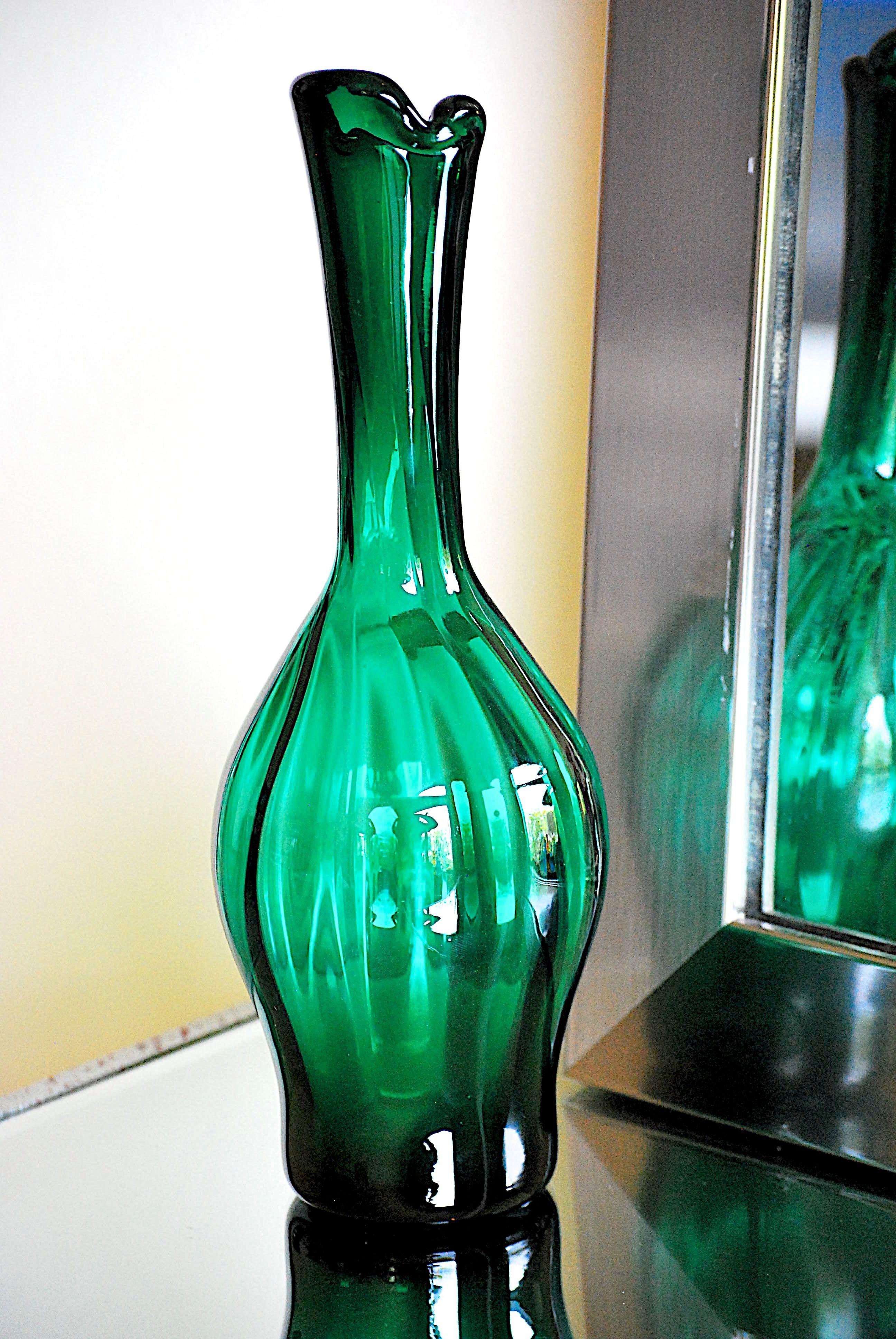 Vintage blenko hand blown glass vase designed by joel myers as vintage blenko hand blown glass vase designed by joel myers as seen in the 1964 catalog reviewsmspy