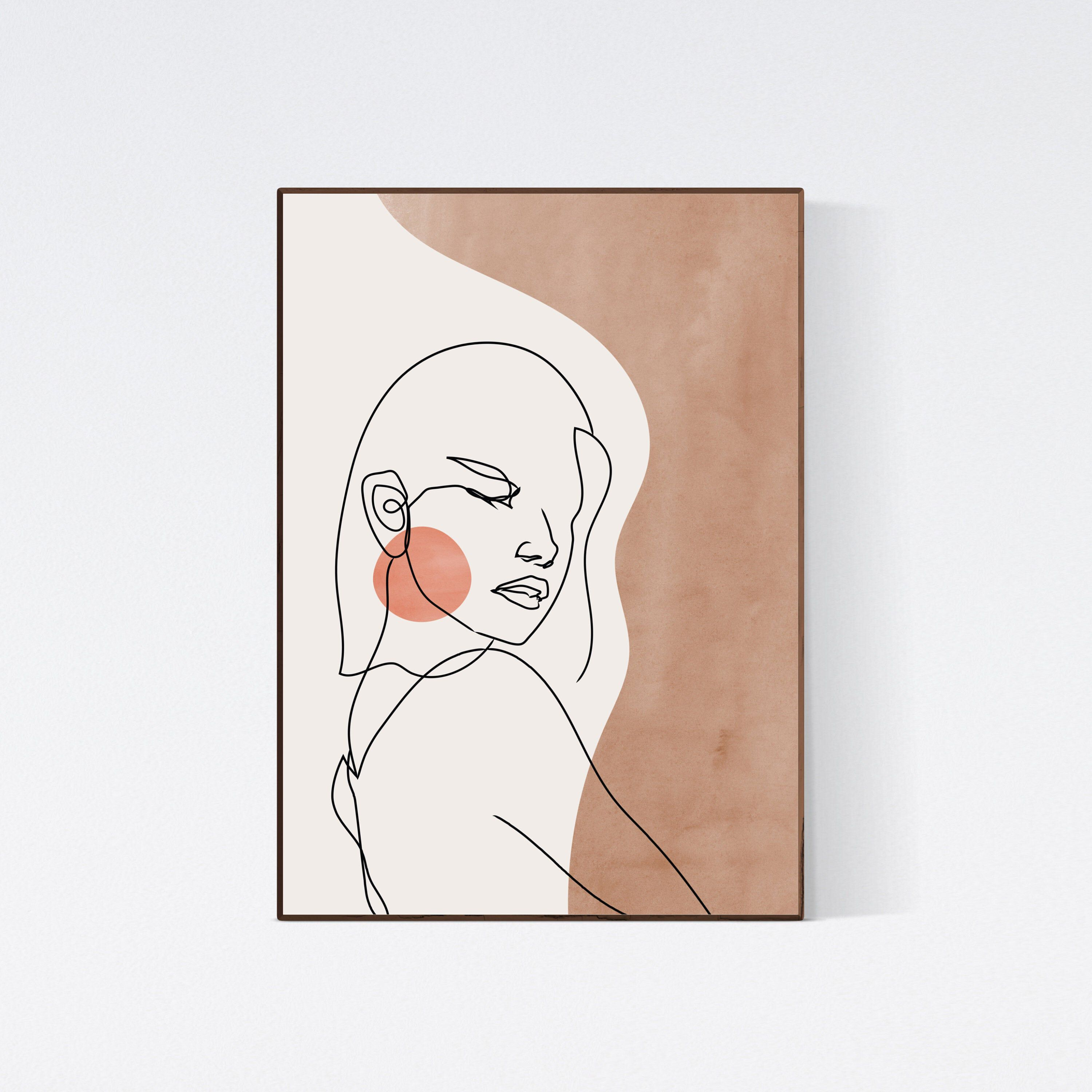 Woman Face Single Line Drawing Abstract Woman Line Art Print ...