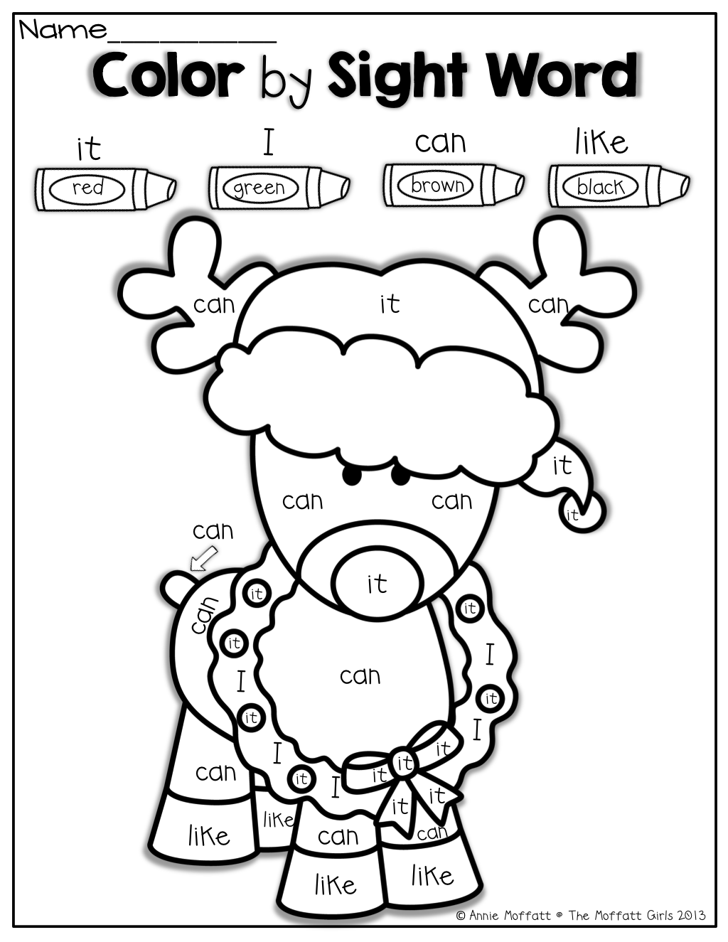 Coloring sheets sight words - Color By Sight Word For Christmas