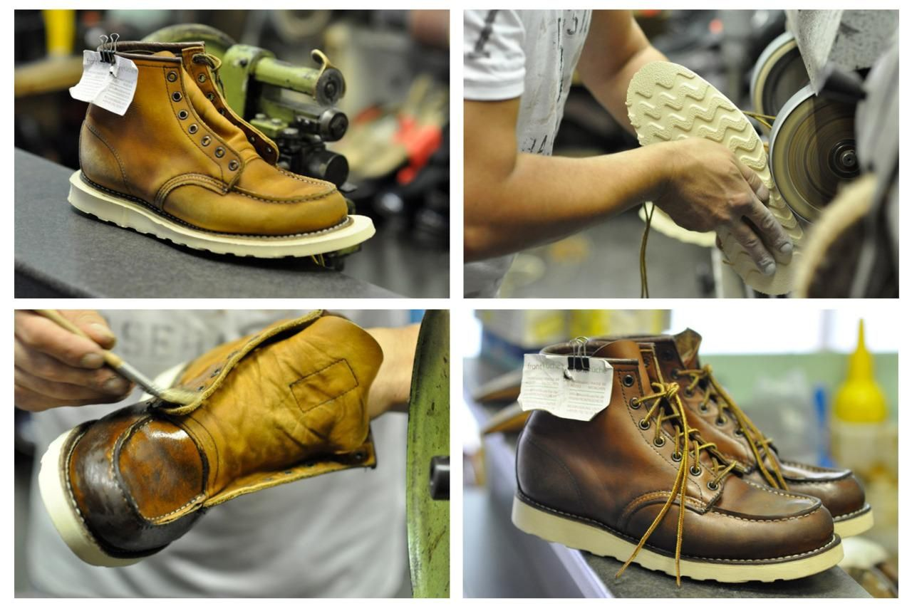 redwing 875  leather  boots being restored 2ff6d15708b