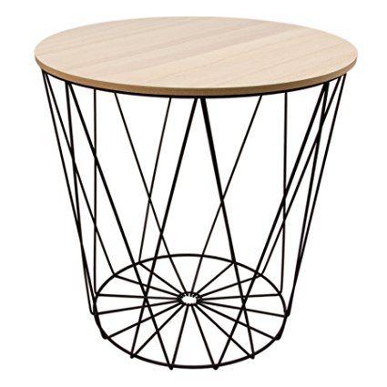 Tisch design beistelltisch drahtkorb metall mit deckel for Nolte apothekerschrank korb