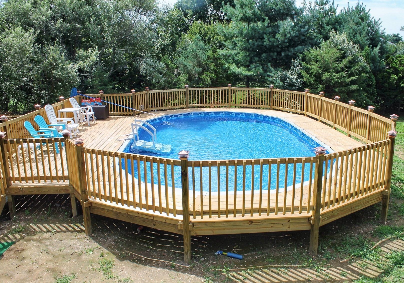 Attractive Above Ground Pool Deck For Enjoyable Home Exterior