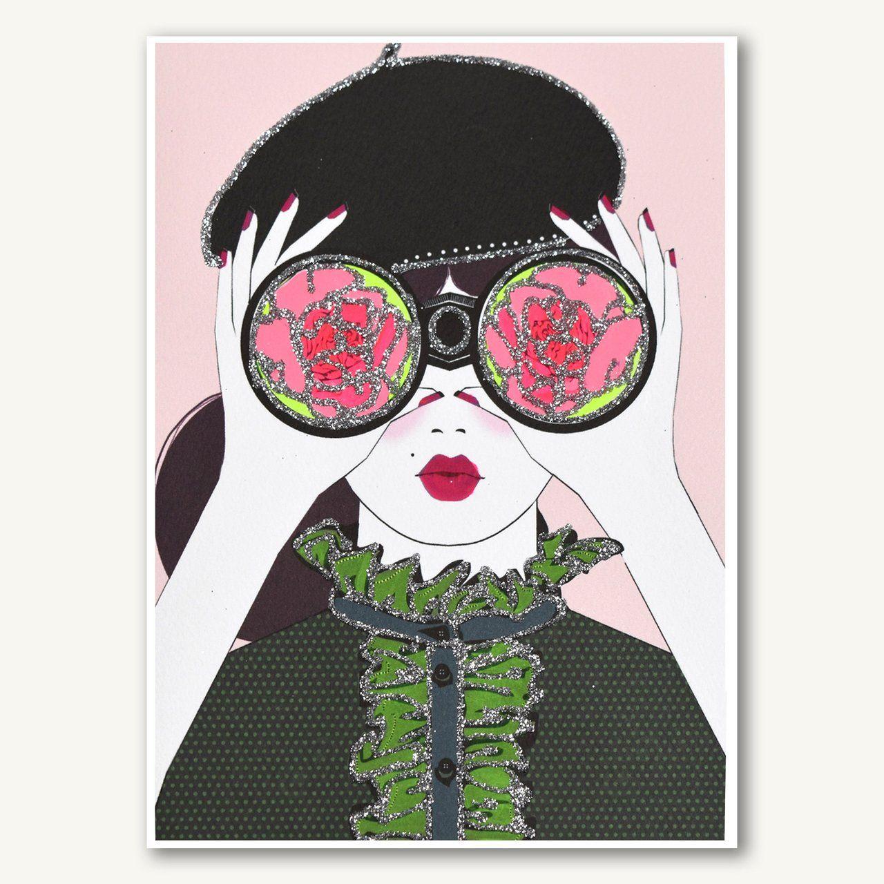 Rose Binoculars | Rose colored glasses, Neon painting, Artwork prints