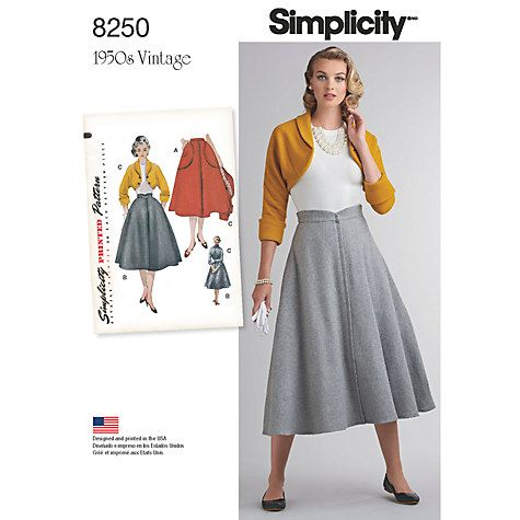 Simplicity Misses\' Women\'s Vintage 1950\'s Skirt and Bolero Sewing ...