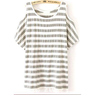 24,90EUR T-Shirt schulterfrei grau weiss geringelt