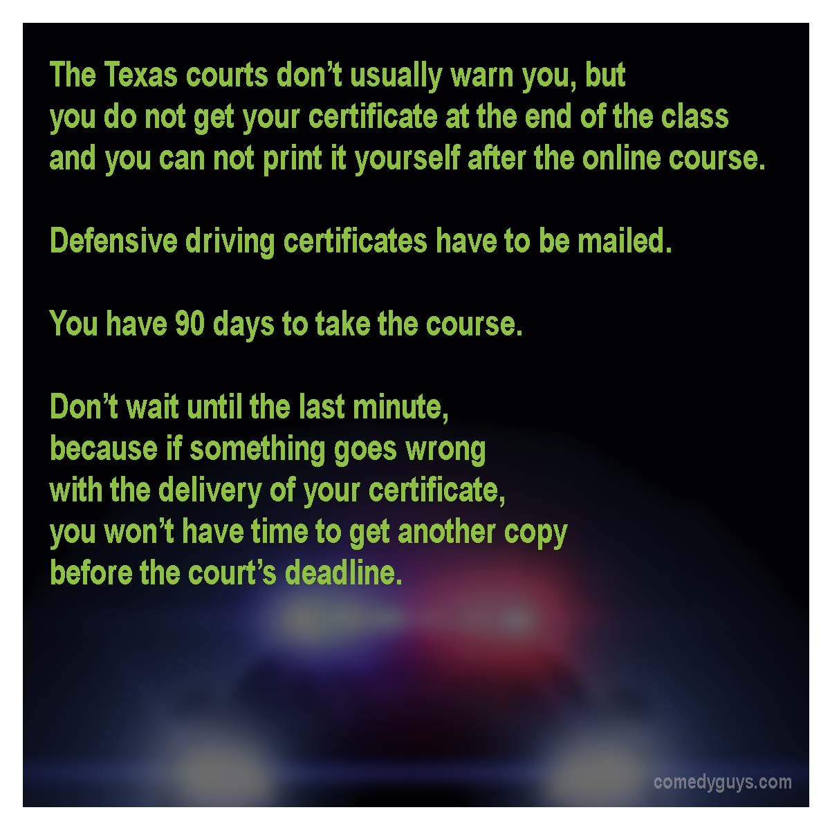 image about Defensive Driving Course Online Texas Printable Certificate called Texas courts dont always alert by yourself around this, nevertheless on your own do