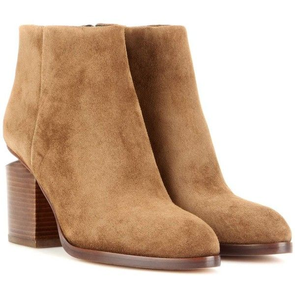 Alexander Wang Gabi Suede Ankle Boots (15,300 MXN) ❤ liked on Polyvore featuring shoes, boots, ankle booties, brown, suede boots, short brown boots, bootie boots, suede ankle booties and suede ankle boots