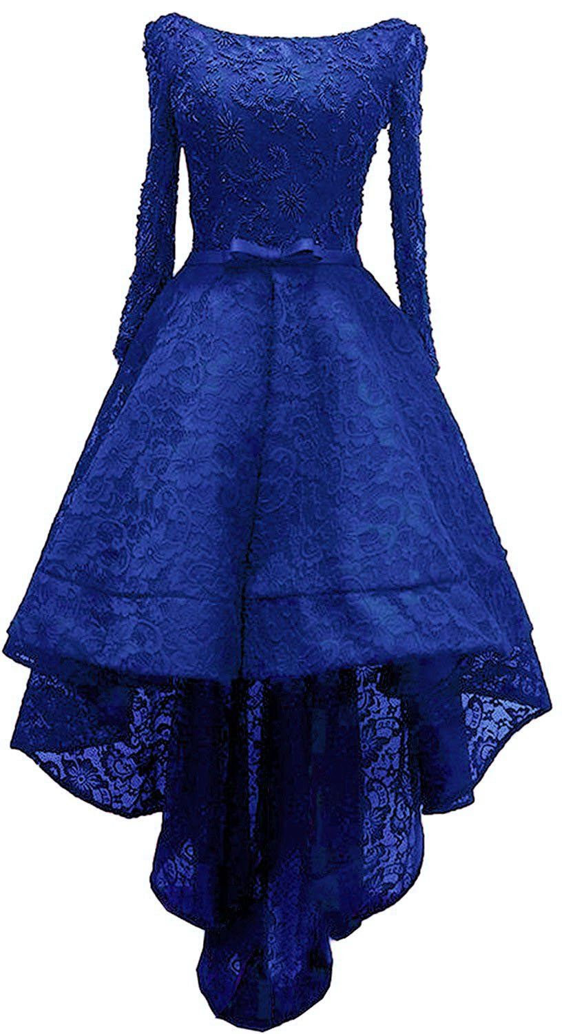 Onlylover womenus high low appliques evening gown long sleeve lace