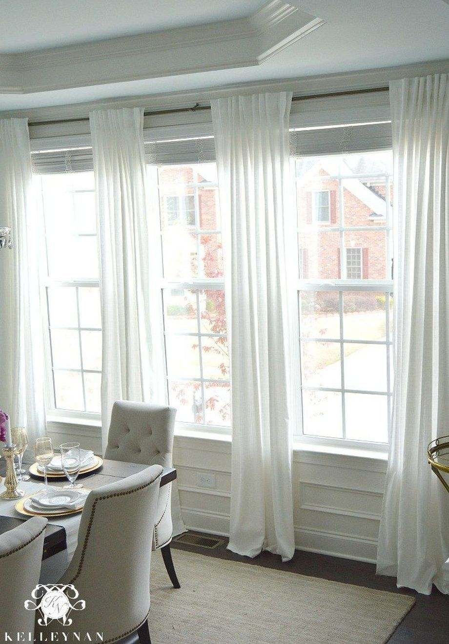 Beauty And Elegant White Curtain For Bedroom And Living Room 47 In 2020 With Images Dining Room Curtains Living Room Windows