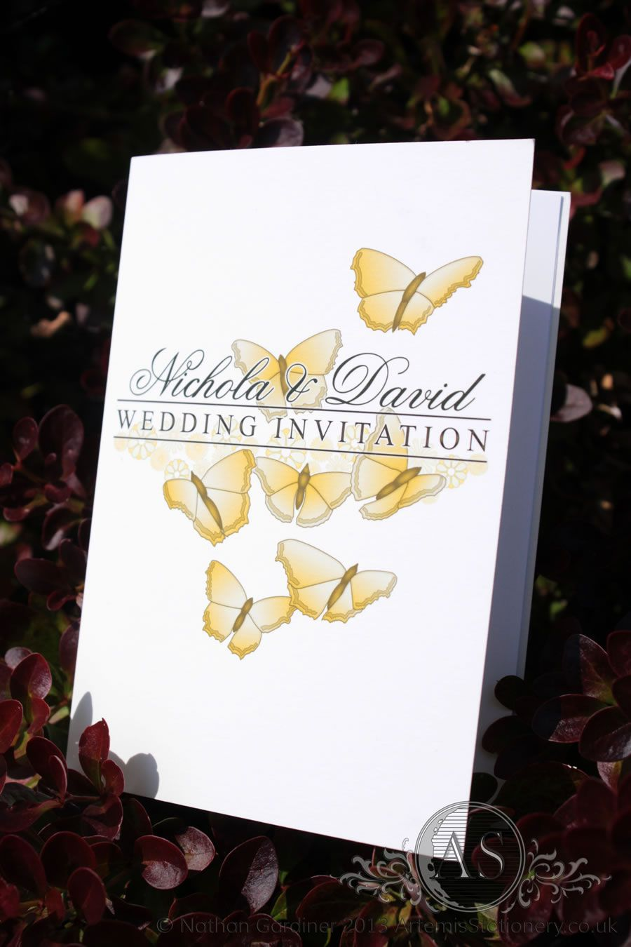 Naples small card wedding invitation featuring butterflies gold ...