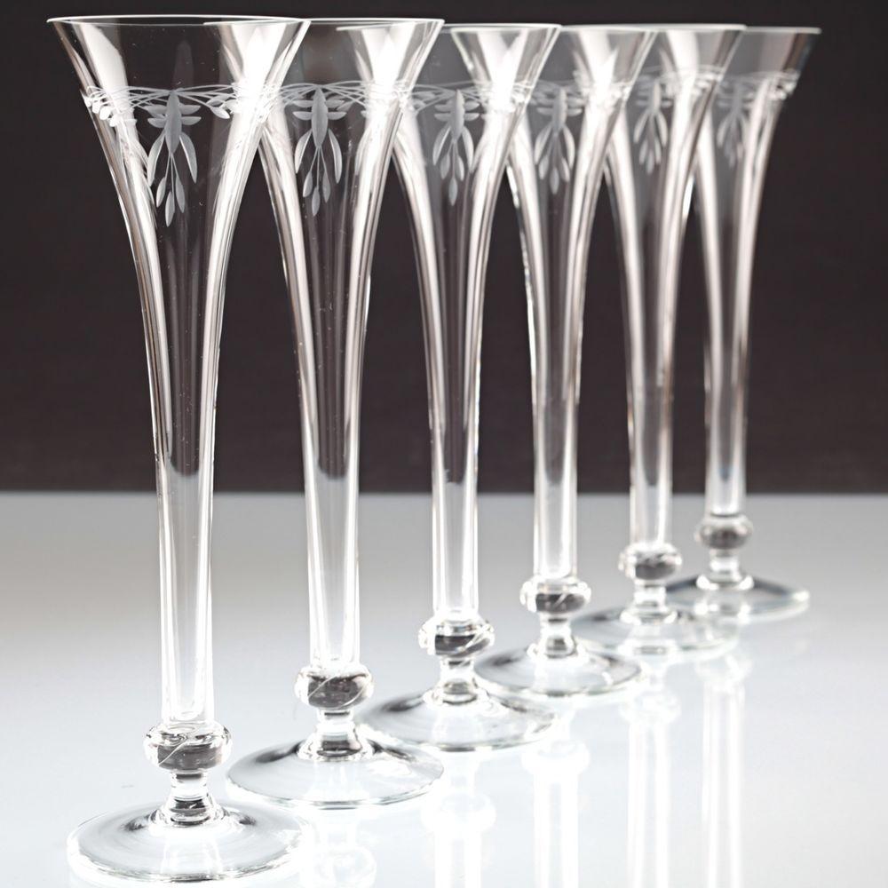 Jugendstil // Art Nouveau Sektflöte klassischer Schliff gebraucht Sektglas