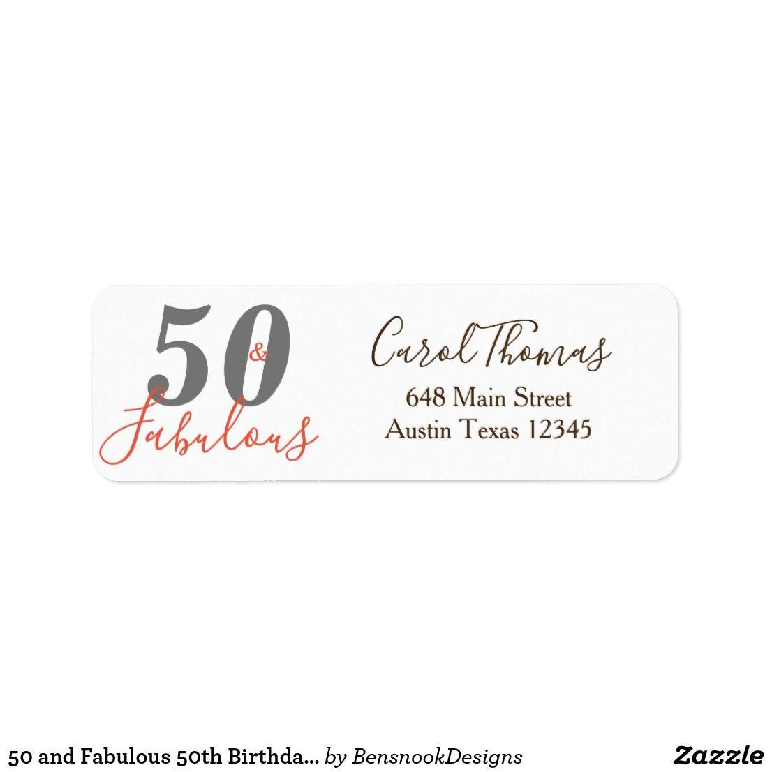 Ab Fab 50: 50 And Fabulous 50th Birthday Return Address Label