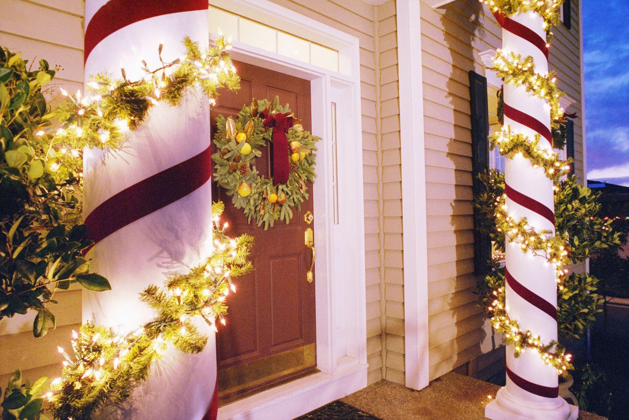Christmas Lights Decorating Columns in Front of House   Christmas ...
