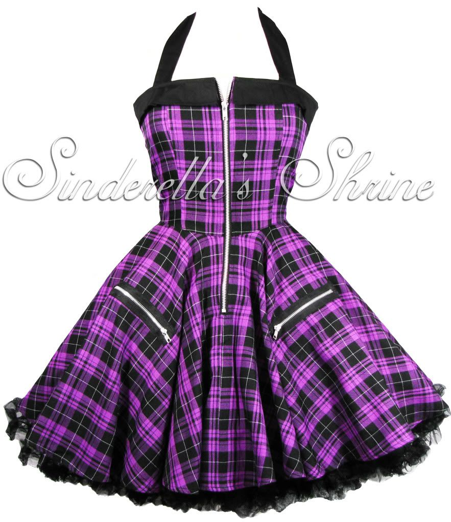 HELL BUNNY Purple ~ZiPPeR~ Tartan Punk Dress 6-16 | Corsé steampunk ...