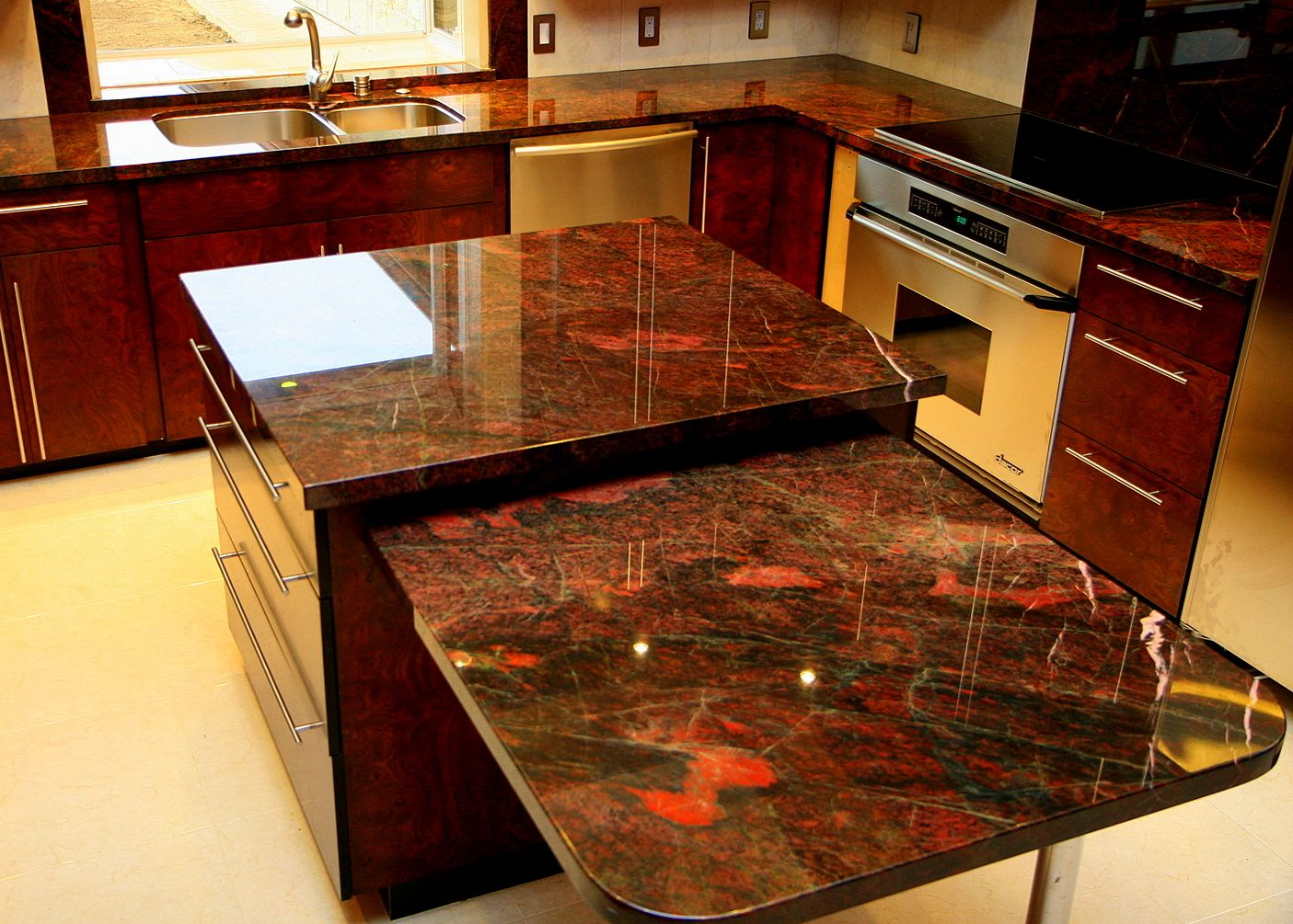 Delightful Stylish Red Granite Countertops