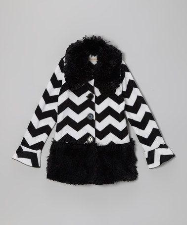 Look at this #zulilyfind! Black Pretty in Paris Shaggy Coat - Infant, Toddler & Girls #zulilyfinds