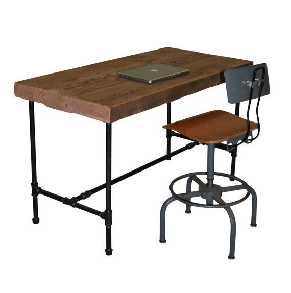 Reclaimed industrial style desk with pipe legs by for Industrial pipe desk