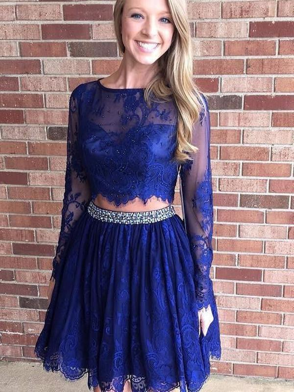 8ab7eae77c Two Piece Homecoming Dress Lace Long Sleeve Homecoming Dress ER208 ...