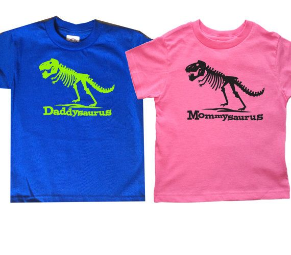 Set of 2 Mommysaurus Daddysaurus Trex Shirts by FreshFrogTees - t shirt order form