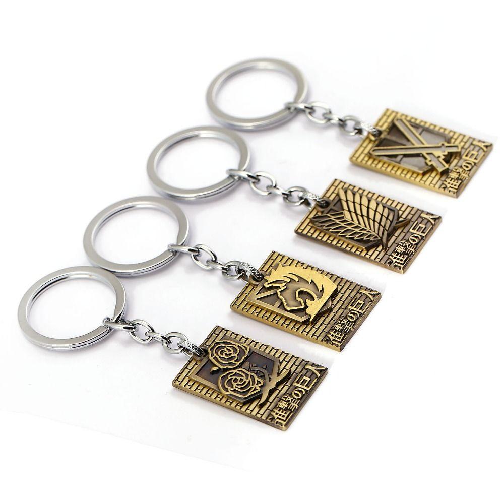Black Attack On Titan Shingeki no Kyojin Scouting Legion Logo Badge Key Ring