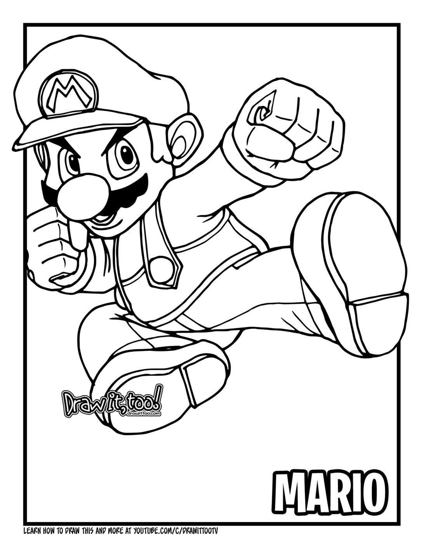 Super Mario Smash Brothers Coloring Pages   aspen agenda