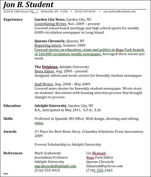 Journalism Advice How To Write A Journalism Resume  School