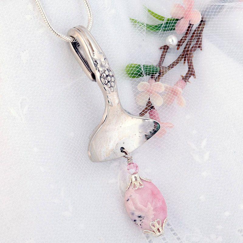 Spoon Necklace - Rhodochrosite Pendant - Vintage Spoon Pendant - Silverware Jewelry - Spoon Jewelry - Silverware Necklace (mcf 038). $29.00, via Etsy.
