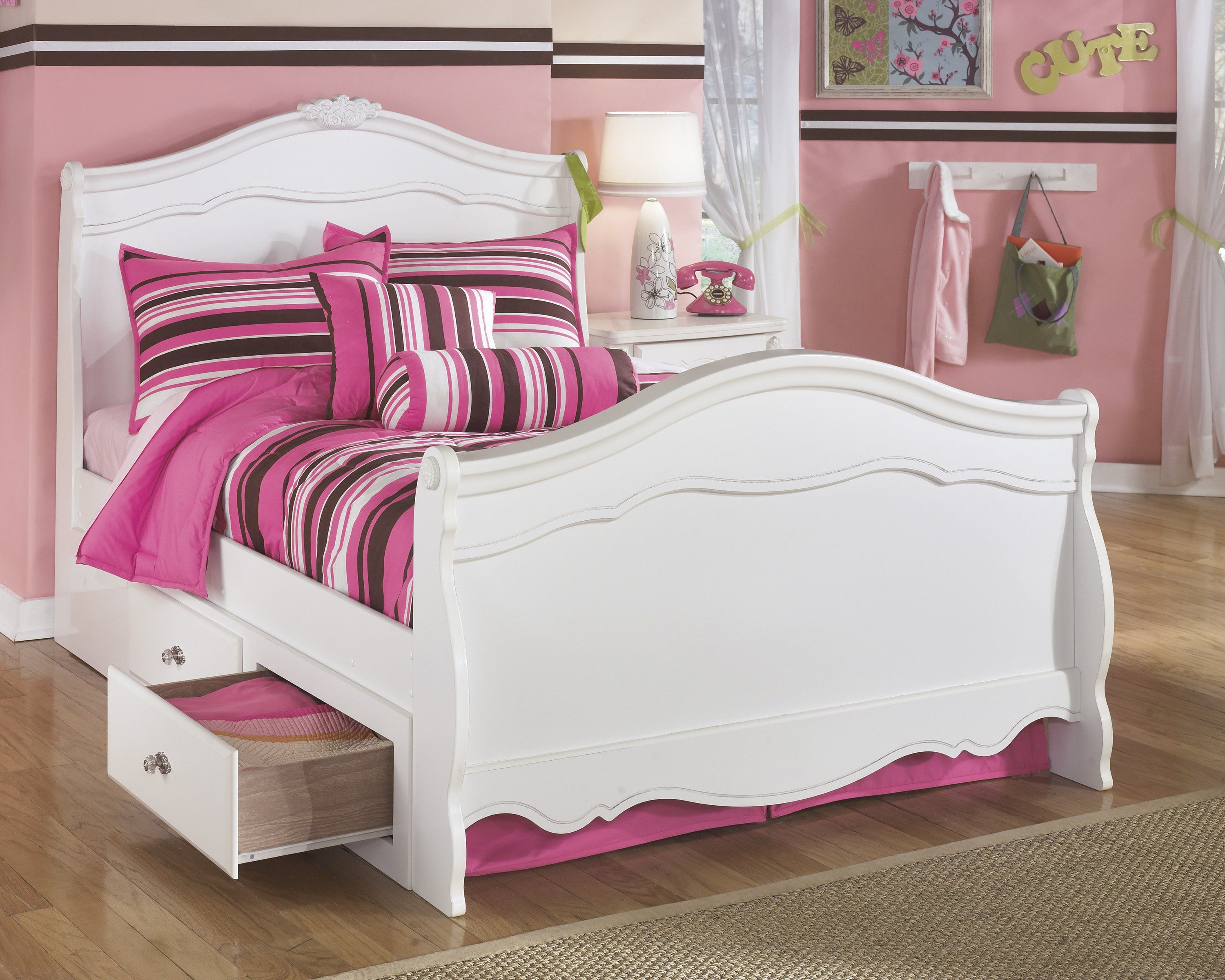Best Ashley Exquisite White Youth Twin Sleigh Bed With Under 400 x 300