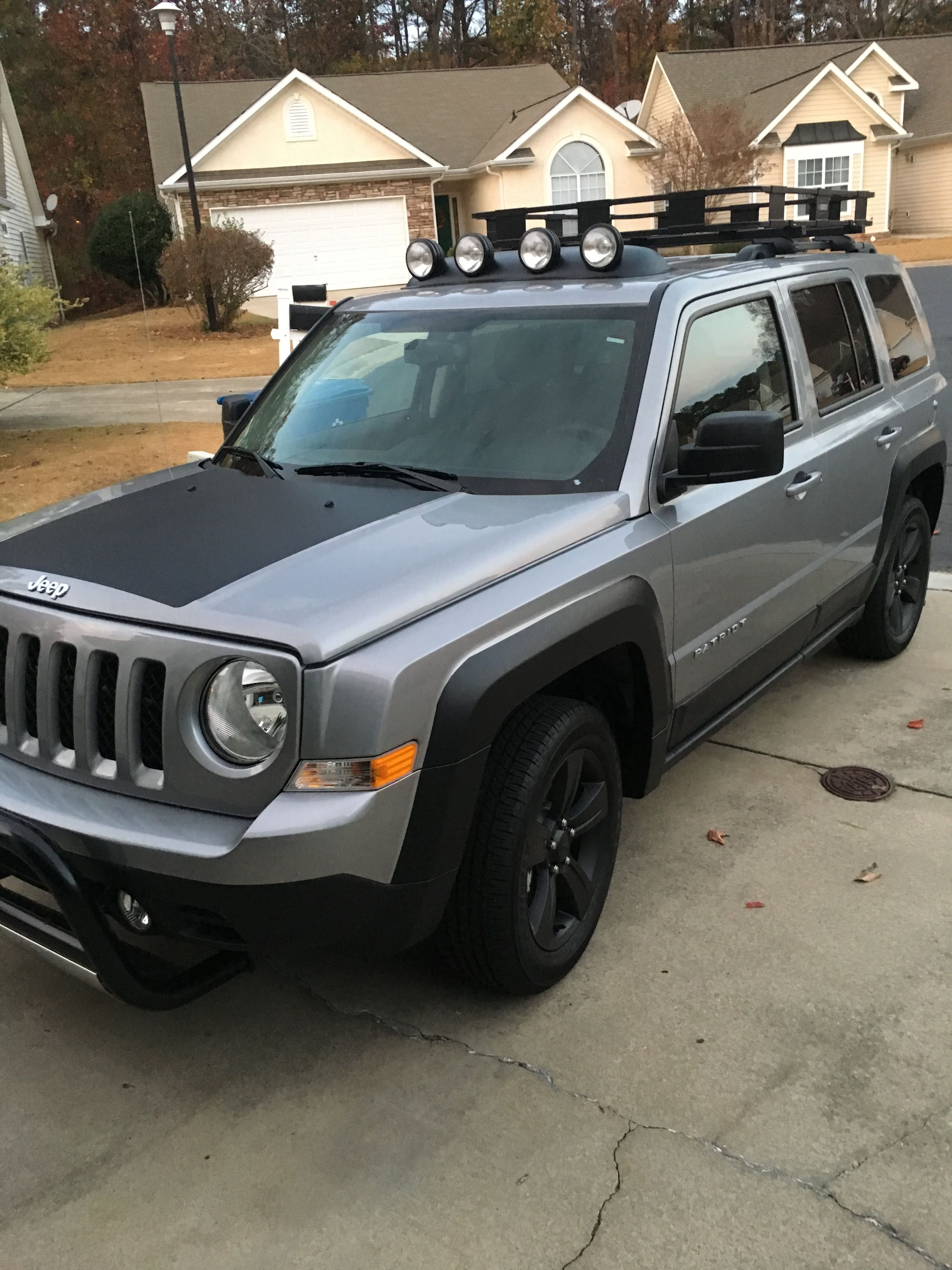 2016 jeep patriot with 3 inch pull bar hood decal painted black fender flares and wheels roof. Black Bedroom Furniture Sets. Home Design Ideas