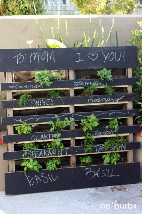 awesome pallet herb garden w chalkboard